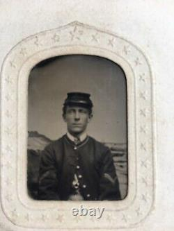 ZOUAVE IDENTIFIED 62nd Regt NINTH-PLATE CIVIL WAR TINTYPE UNION SOLDIER, NY
